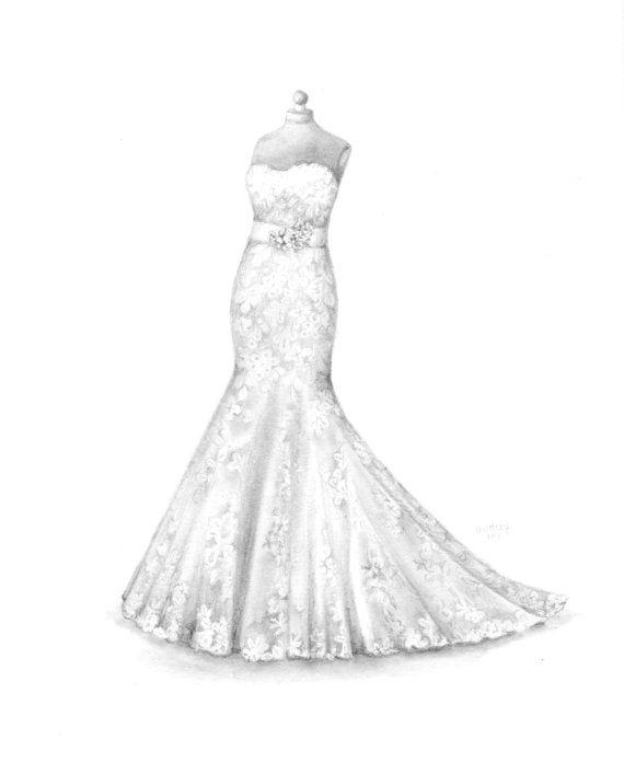Custom Wedding Dress Drawing, Wedding Illustration, Memory