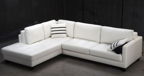 Contemporary White L Shaped Leather Sectional Sofa Modern | eBay