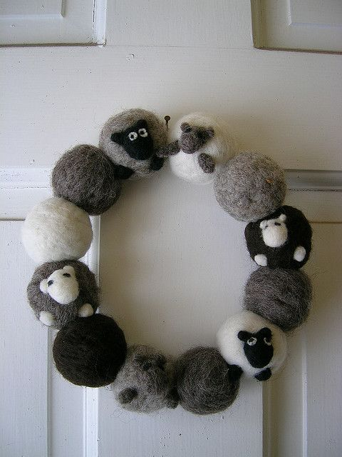 Felted sheep wreath.  I love this - good way to use up several bins of my natural colored wool.  Christmas break project!