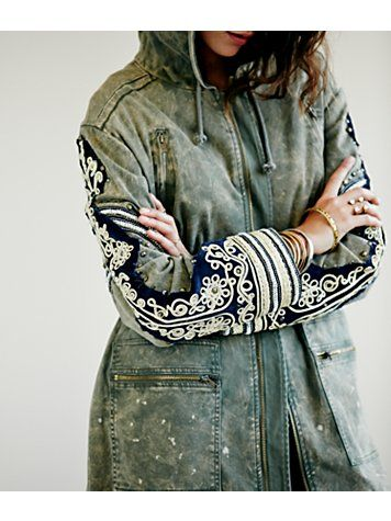 """Golden Quills Military Parka"" from Free People= wedding applique insp"