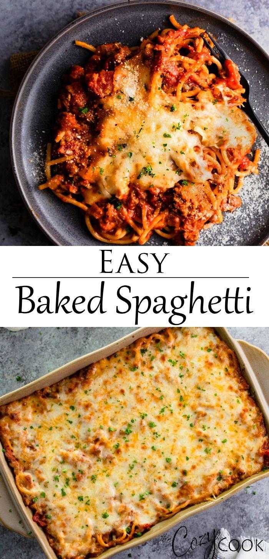Baked Spaghetti Easy Baked Spaghetti Recipe Easy Baked Spaghetti Spaghetti Casserole Recipe Ground Beef