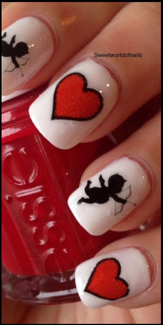 183 best valentines day nails images on pinterest heart nails valentine red hearts cupid nail art nails valentinesday hearts prinsesfo Images