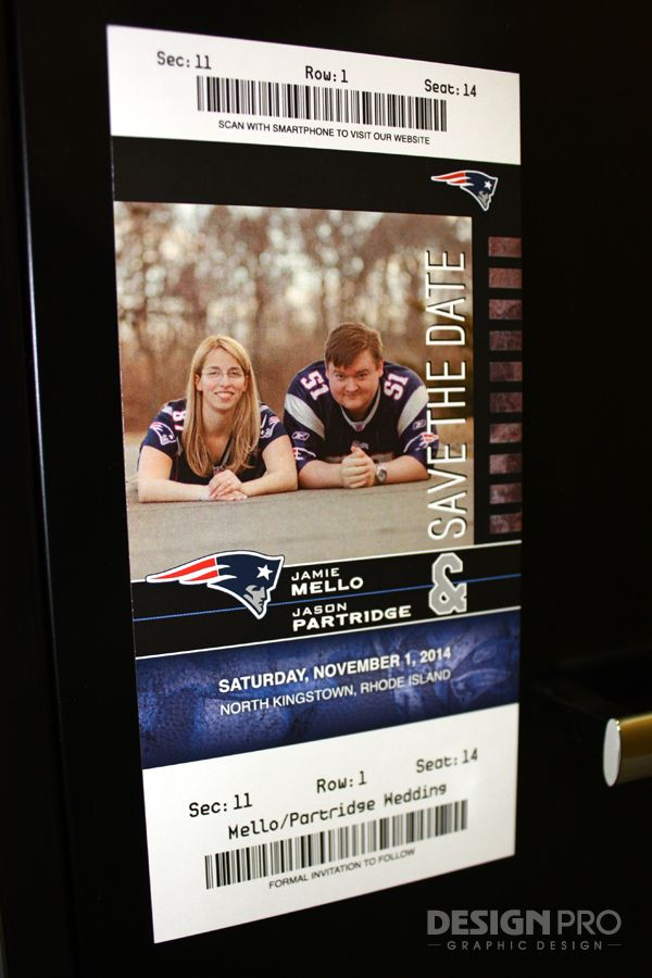 This save the date magnet was made to resemble a New England Patriots ticket.  The bride and her fiance are both huge Patriots fans.  The best part is that the barcode links to their wedding website when scanned with a smartphone!