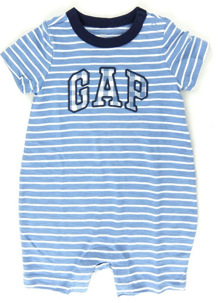 67295947b Baby Gap Boys Romper One Piece Blue White Stripe Size 6-12 12-18 18 ...