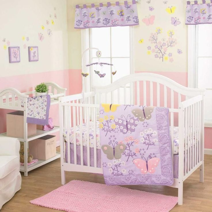Butterflies And Flowers Baby Girls Lavender Nursery 3 Pc Crib Bedding Set