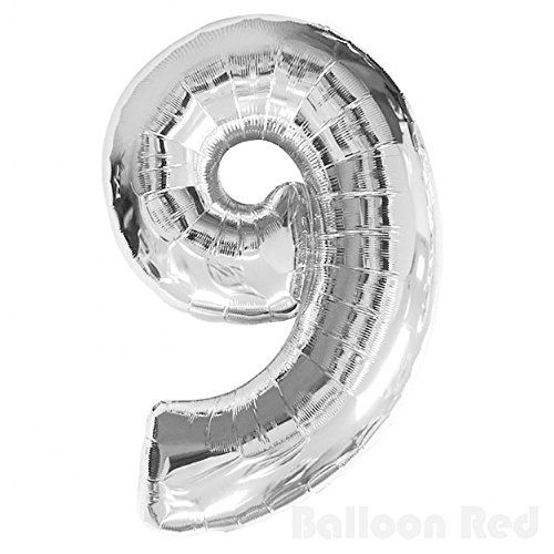 40 Inch Giant Jumbo Helium Foil Mylar Balloons (Premium Quality), Glossy Silver, Number 9:   This 40 inches Glossy Silver Mylar Balloon will surely draw attention to your event. Each Glossy Silver Giant Mylar Balloon Number measures 40 inches in height. Tie these balloons to weights to keep the balloons floating at the same height together. Alternatively pair this Balloon with another number balloon to create a specific year of your choice.