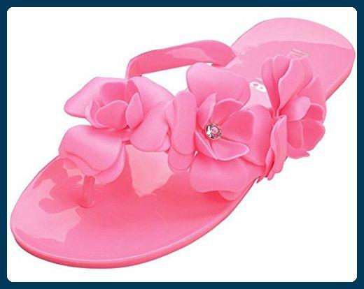 Fortuning's JDS Frauen-3D Kamelien Blumen-Flip-Flop flache Hausschuhe - Zehentrenner für frauen (*Partner-Link)