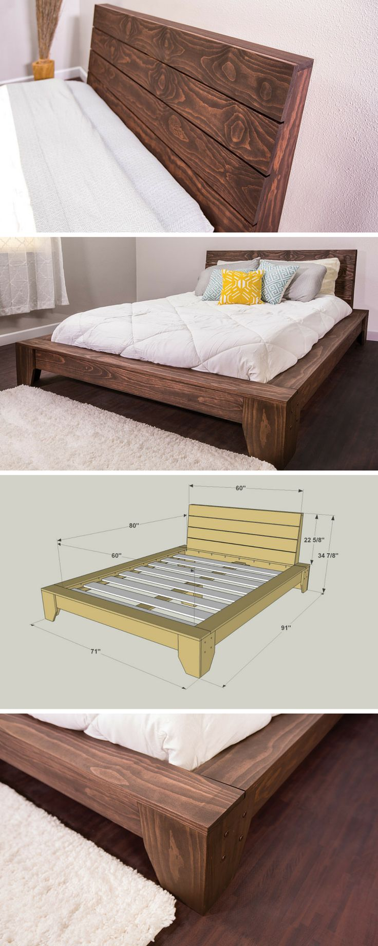 Build yourself this beautiful platform bed and you're sure to have sweet dreams. It offers a sophisticated style you'd pay big bucks for in a store, but this bed is easy and economical to build. It's made from pine boards you can get at any home center that can be stained for any look you'd like. Get the free DIY plans at buildsomething.com #woodworking