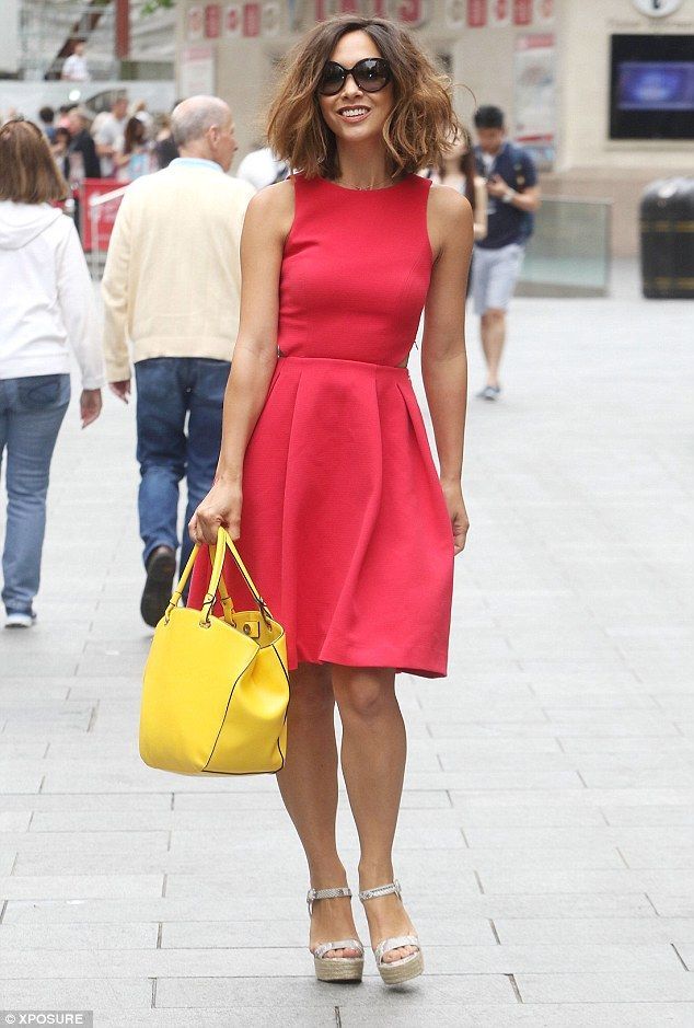 Myleene oozes Klass as she teams bright red dress with yellow handbag #dailymail