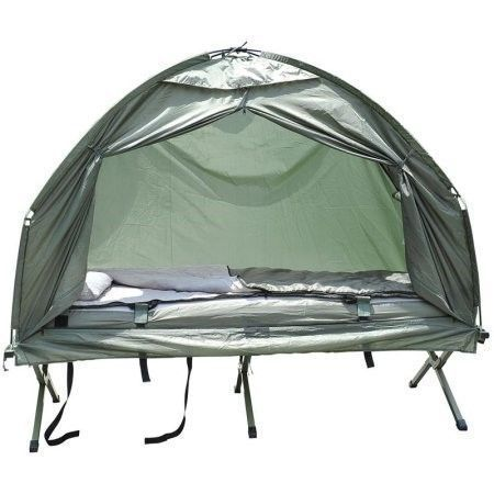 Outsunny Pop Up Tent Cot With Air Mattress And Sleeping Bag Combo Black