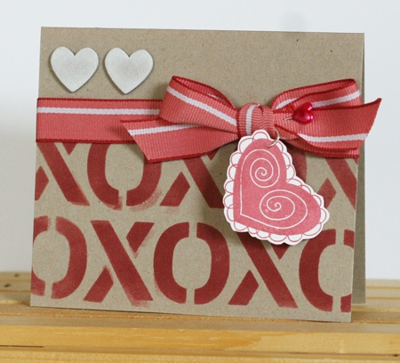 Stamps used: Happy Heart Day and Hugs and Kisses stencil. By Tricia Ulberg
