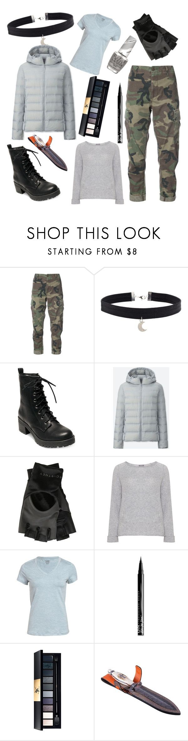 """""""Hunter of Artemis"""" by nerdphotos ❤ liked on Polyvore featuring RE/DONE, Madden Girl, Uniqlo, adidas, Samoon, NYX, John Lewis and OPI"""