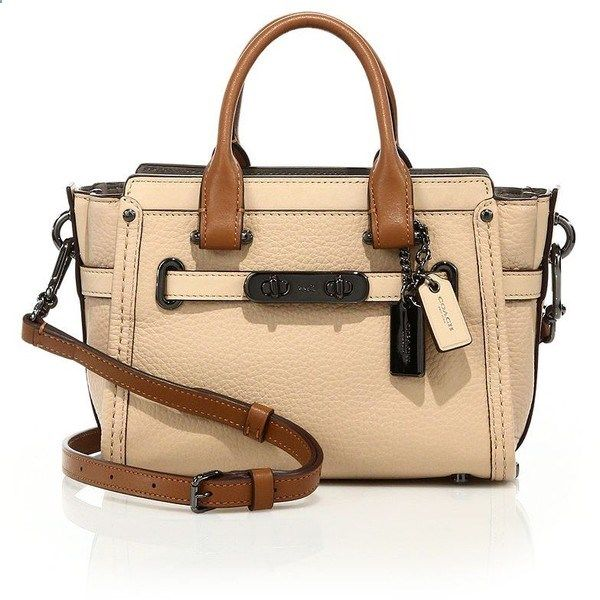COACH Swagger 20 Colorblock Leather Satchel (501 CAD) ❤ liked on Polyvore featuring bags, handbags, apparel accessories, beige, leather satchel, beige purse, beige handbags, satchel purse and coach handbags