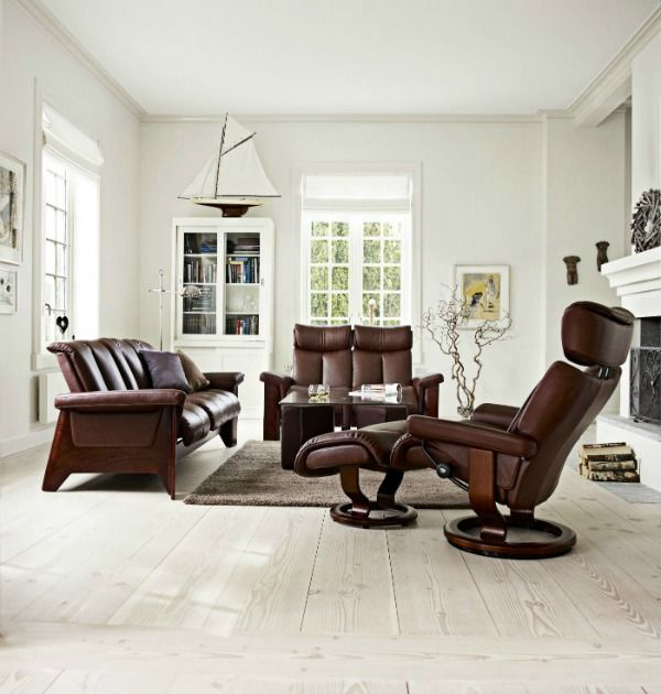 scandinavian design furniture ideas wooden chair. Classic Scandinavian Interior For Living Room: Gorgeous Design Light Flooring And Ekornes Stressless Chair Used Brown Leather Wooden Furniture Ideas