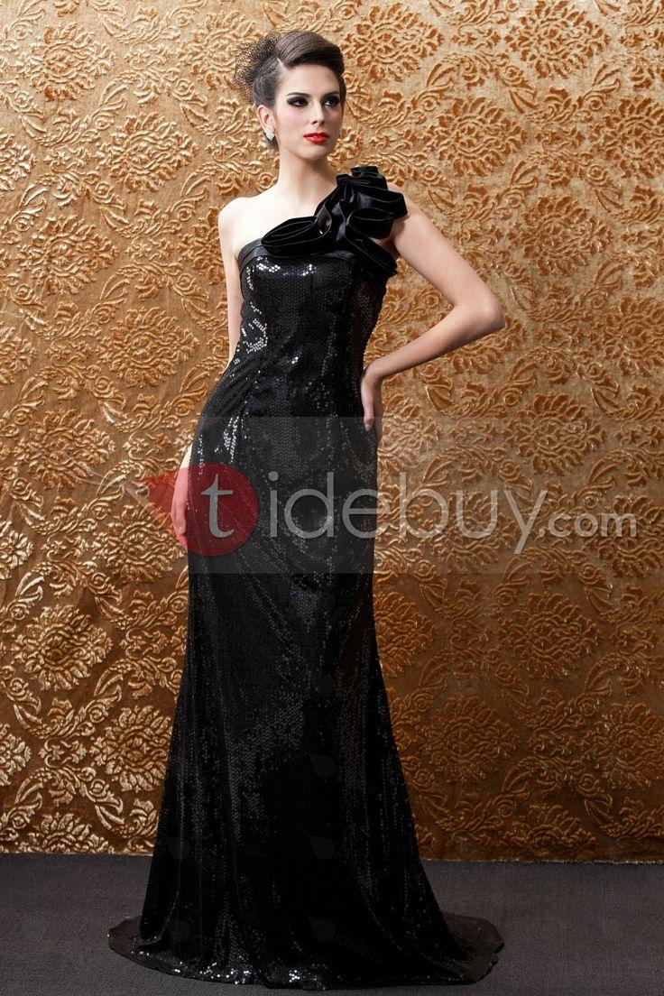 トランペット/マーメイドワンショルダー床まで届く長さシークインルバのイブニング/ページェントドレス