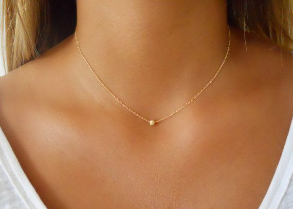 Minimal Gold Necklace, Stardust Bead Necklace, 14K Gold filled Necklace…