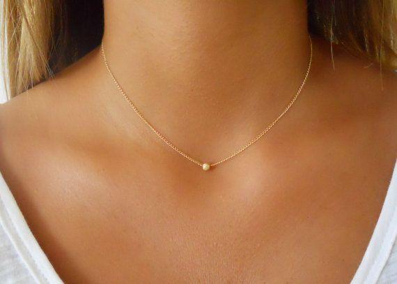 Minimale Goldkette, Stardust Bead Halskette, 14K Gold gefüllte Halskette, Lagenkette, Goldene Halskette, Schicht-Halskette