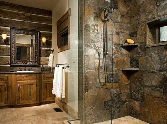 Stone shower beautiful creations pinterest for Cabin shower tile ideas