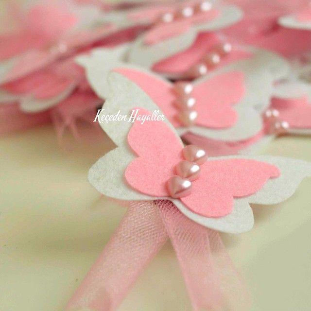 Keçe kelebek magnet - felt butterfly craft