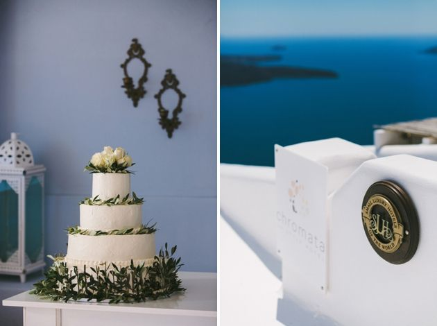 Olive Brunches and Lavender Sprigs for Decorating the Wedding Cake - A Greek Island Wedding By Stella And Moscha, Photo by Thanos Asfis