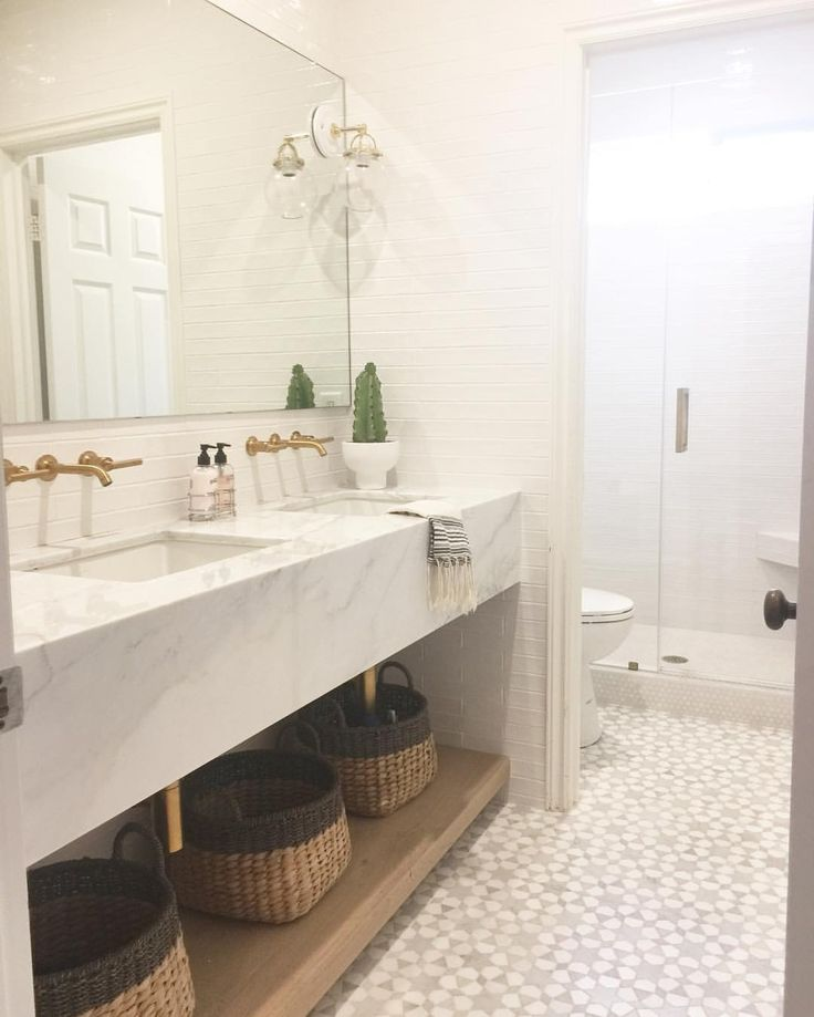 """Becki Owens on Instagram: """"A shot from our #arbolesproject girls bathroom! Custom marble vanity and marble mosaic tiles by @newravenna. Also this weeks favorites on Beckiowens.com."""""""