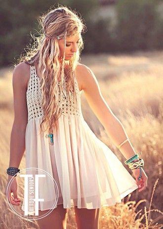 dress white cream flowy boho bohemian boho chic country summer summer dress crochet festival hippie indie cute flowy dress fashion white dress