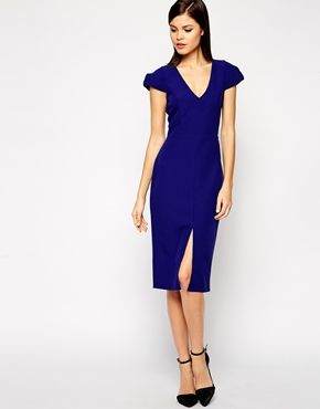 ASOS Structured Dress with Deep V-Neck