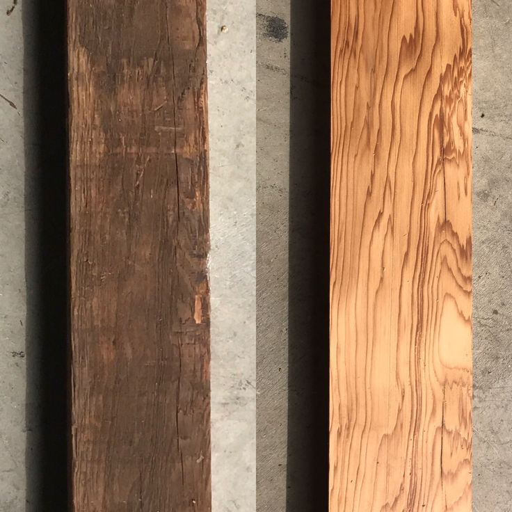 Before and after planing reclaimed lumber Douglas fir