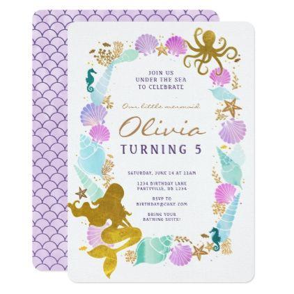 #Purple & Turquoise Mermaid Birthday Invitation - #birthdayinvitation #birthday #party #invitation #cool #parties #invitations