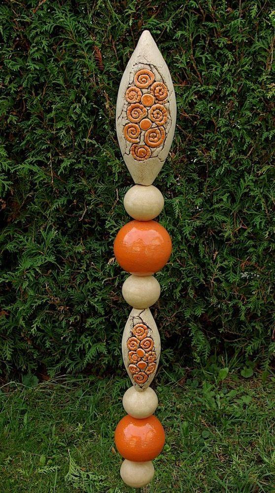 Stele Garten Orange Beige Frostfest Unikat Handarbeit töpfern in Garten & Terrasse, Dekoration, Rosenkugeln | eBay
