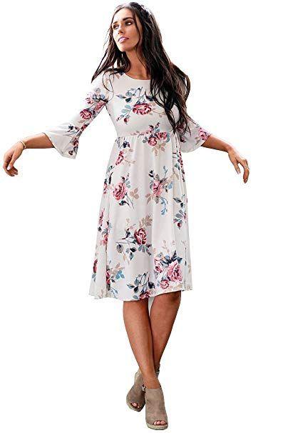 94d142efcbd Mikarose Women s Naomi Bell Sleeve Modest Dress with sleeves (Cream Floral