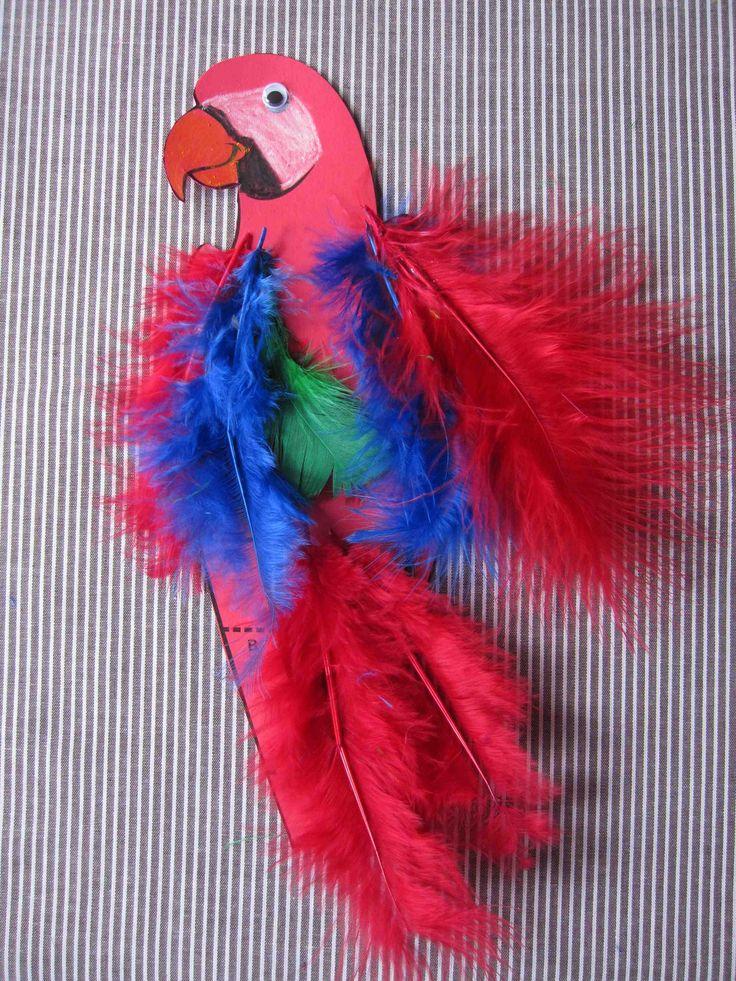 faire un perroquet avec des plumes.