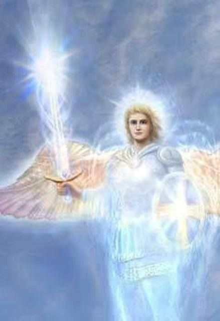 Archangel Michael. Angels may appear to me this way...you can see their form but they are of Light.