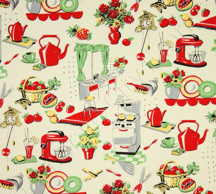 Michael Miller Fabric- Fifties Kitchen- Retro 50's Kitchen Appliances on Cream- Novelty Fabric. $8.25, via Etsy.