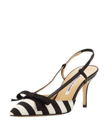 Galop Striped Canvas Halter Pump, Black/White by Manolo Blahnik at Bergdorf Goodman. #manoloblahnikheelsbergdorfgoodman