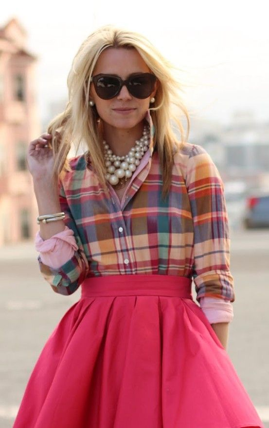 """This is so Nantucket prep, with just a little dash of """"too much"""" that makes it not so buttoned-down. Love the skirt (fit and flare) and its color, and the big chunky (faux) pearls, AND the shirt. Love the shirt the most."""