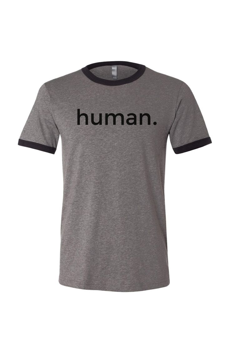 This throwback men's tee is designed in a jersey poly-cotton blend, men's  easy fit, short sleeves with contrast ringer binding at neckline and  sleeves.    Features 'human.' label on front and '#notathing' across top of back.