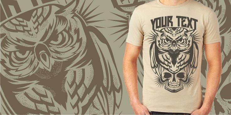 """OWL X SKULL"" t-shirt design by plaju"