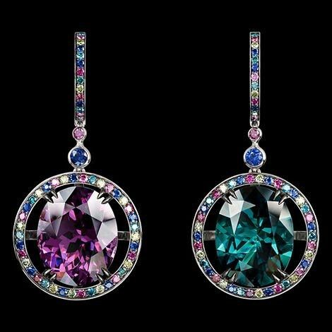 Carnival Spring Venice earrings with tourmaline, spinel, sapphires and diamonds, by Jewellery Theatre. @jewellerytheatre