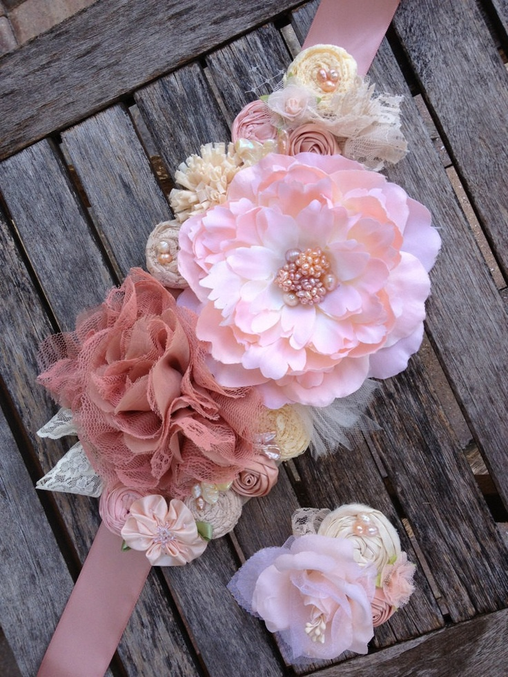 Pink Blush & Ivory Rosette Wedding or Maternity Sash Vintage-inspired w/ Handrolled Fabric Rosettes and Feathers. $75.00, via Etsy.