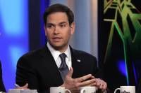 "U.S. Sen. Marco Rubio, R-Fla, appears on ""The Five"" television program, on the Fox News Channel, in New York, Monday, March 30, 2015. (AP Photo/Richard Drew)"
