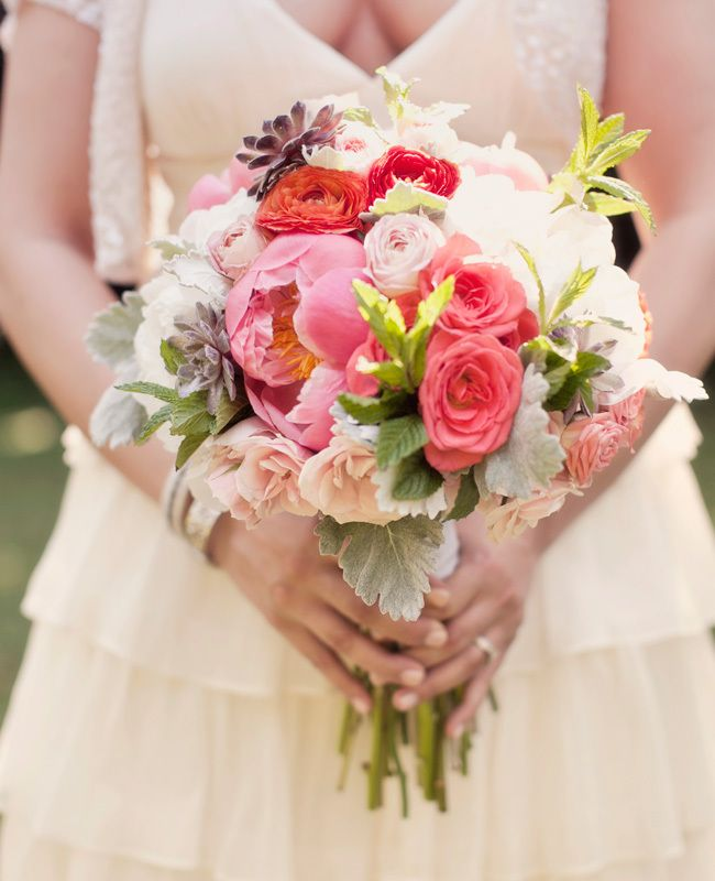 Pink, Green & White Bridal Bouquet // Photo: Our Labor Of Love // Planning: We Tie the Knots