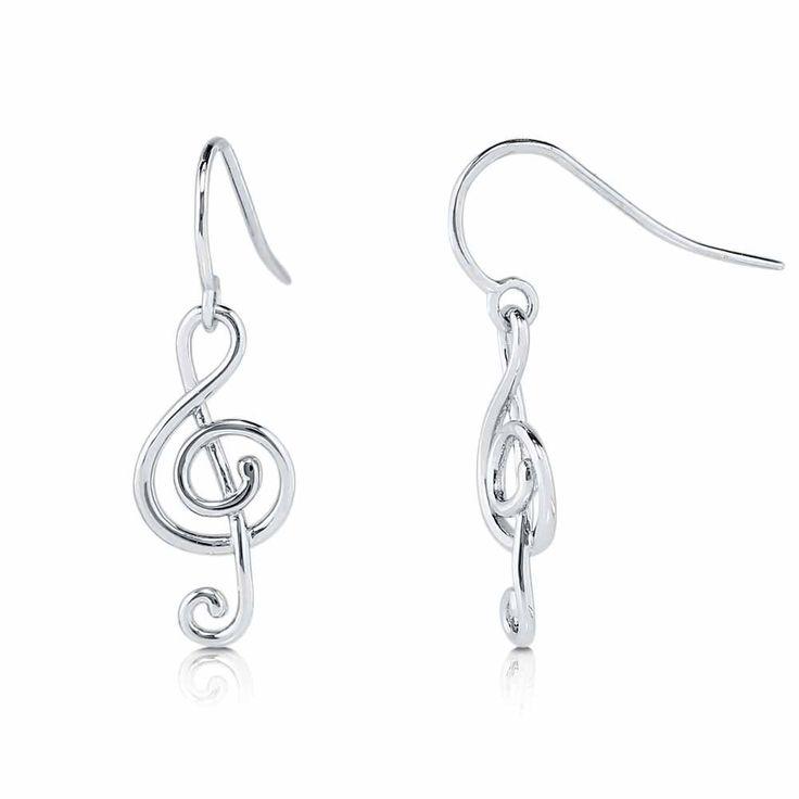 Sterling Silver Treble Clef Music Note Fish Hook Earrings