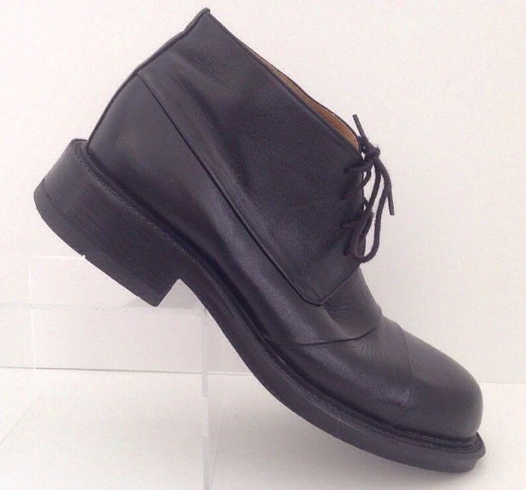 Bunker Chukka Boots 41EU Men 8 US Women 10 US Black Leather Ankle Goth Punk Shoe #Bunker #AnkleBoots