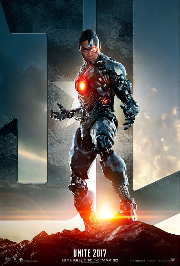 Justice League Movie Poster 2017 Cyborg aka Victor Stone in front of Justice League Logo, Check out Trailer Breakdown - DigitalEntertainmentReview.com