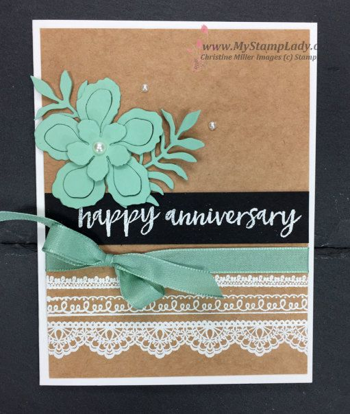 Sale-A-Bration Delicate Details anniversary card. Find supplies at wwwl.shopwithmystamplady.com