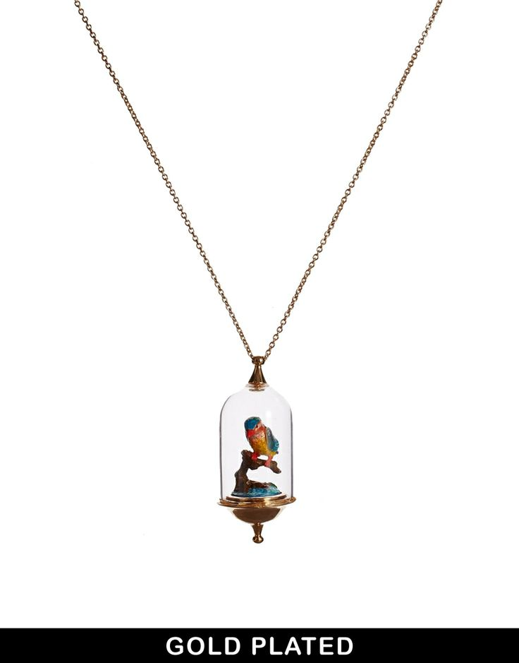 Bill Skinner Glass Dome Kingfisher Necklace