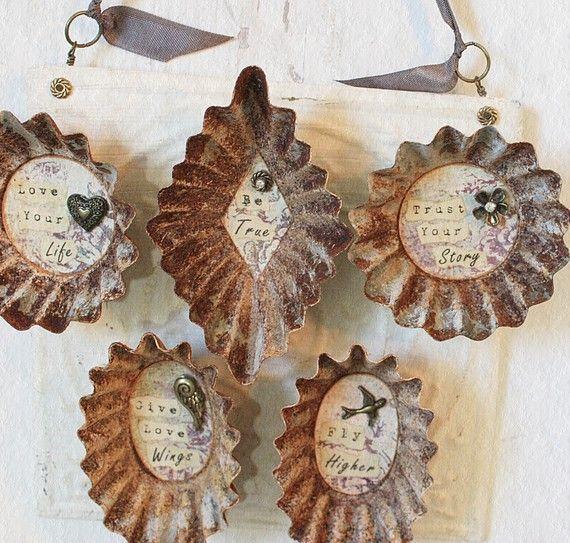 Repurposed Vintage Tart Tin Magnet Give Love Wings