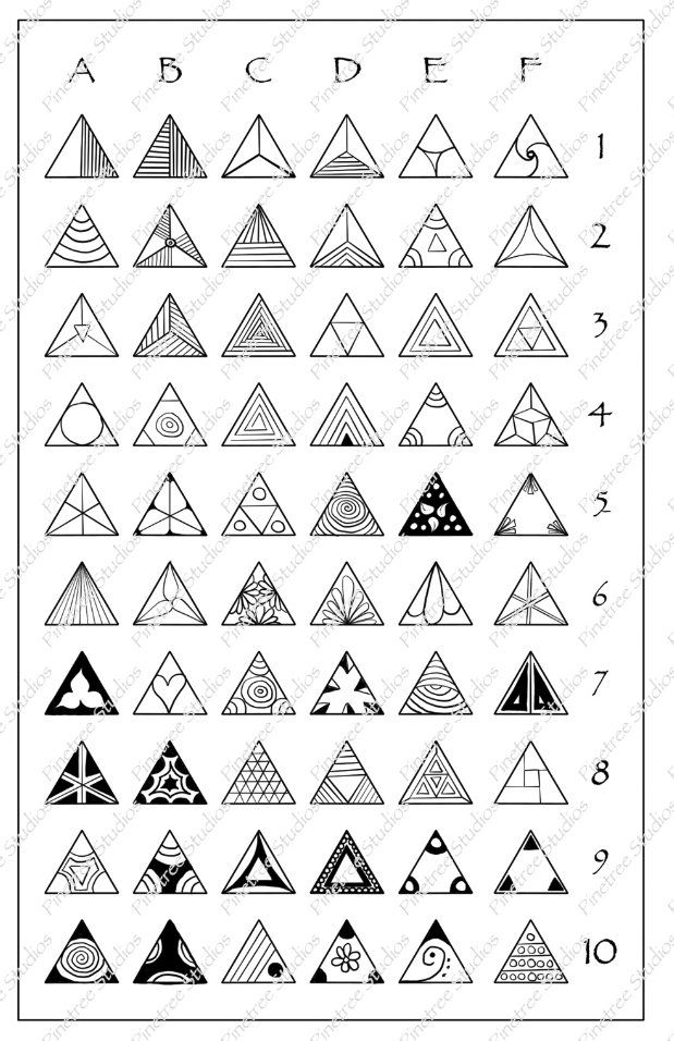 Triangle Fragments Patterns Chart 5 X 8 Zentangle Patterns Tangle Art Mandala Design Pattern