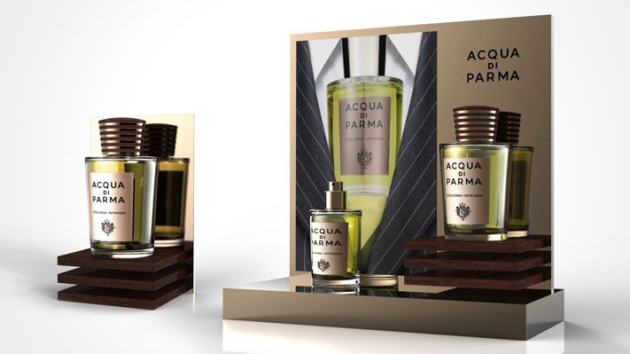 perfume luxury man suit tie elegant italy Intensa Acqua Di Parma Counter Display Sotano Studio